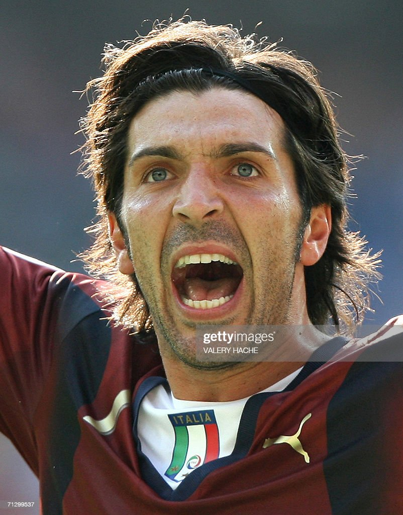 Italian goalkeeper Gianluigi Buffon celebrate the team's victory following the round of 16 World Cup football match between Italy and Australia at Kaiserslautern's Fritz-Walter Stadium, 26 June 2006. Italy won the match 1-0 when a penalty kick was converted by Italian midfielder Francesco Totti at the end of the game.