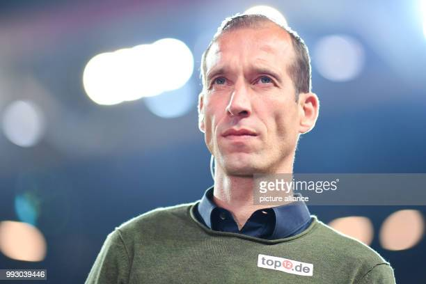 Kaiserslautern's coach Jeff Strasser during a television interview at the German 2nd division Bundesliga soccer match between 1 FC Kaiserslautern and...