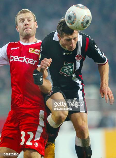 Kaiserslautern's Willi Orban vies for the ball with Berlin's Adam Nemec during the DFBround of sixteen match between FCUnion Berlin and...