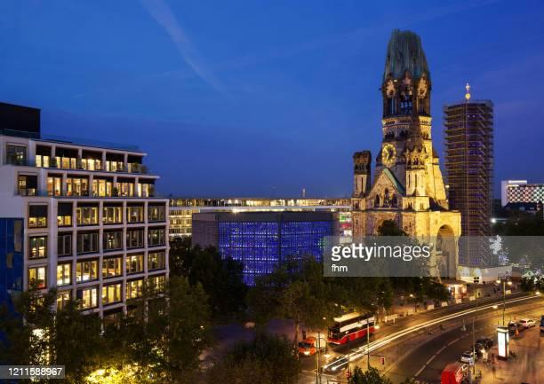 kaiser-wilhelm memorial church and breitscheidplatz square (berlin-charlottenburg, germany) - kurfürstendamm stock pictures, royalty-free photos & images