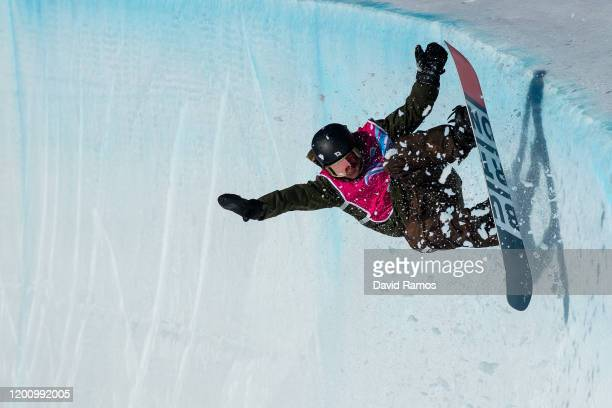 Kaishu Hirano of Japan competes during his final run in Men's Snowboard Halfpipe during day 13 of the Lausanne 2020 Winter Youth Olympics at Leysin...