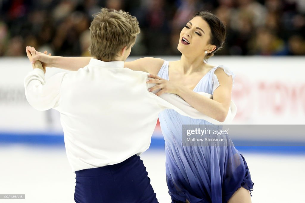 Kaitlin Hawayek and Jean-Luc Baker compete in the Free Dance during the 2018 Prudential U.S. Figure Skating Championships at the SAP Center on January 7, 2018 in San Jose, California.