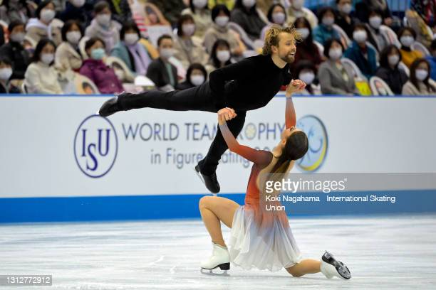 Kaitlin Hawayek and Jean-Luc Baker of the United States compete in the Ice Dance Free Dance on day two of ISU World Team Trophy at Maruzen Intec...