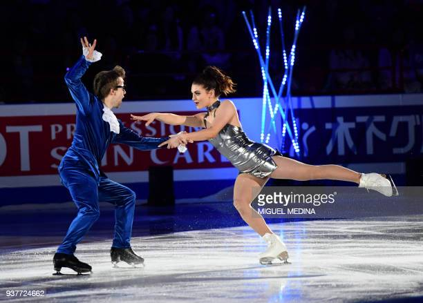Kaitlin Hawayek and JeanLuc Baker of the US perform a routine during an Exhibition Gala at The World Figure Skating Championships 2018 in Milan on...