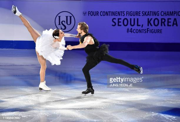 Kaitlin Hawayek and JeanLuc Baker of the US perform during the exhibition gala at the ISU Four Continents Figure Skating Championships in Seoul on...