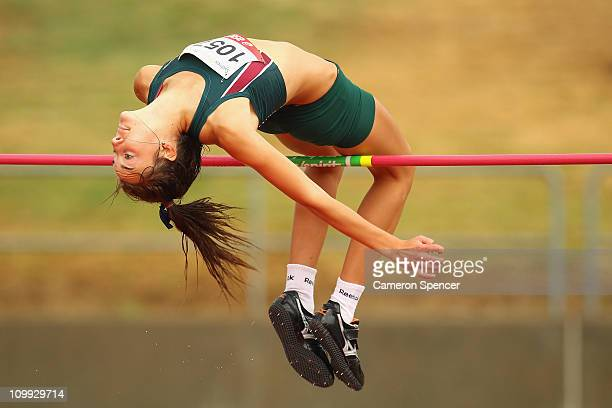 Kaitlin Morgan of Tasmania jumps in the womens U18 highjump during day two of the Australian Junior Athletics Championships at Sydney Olympic Park...