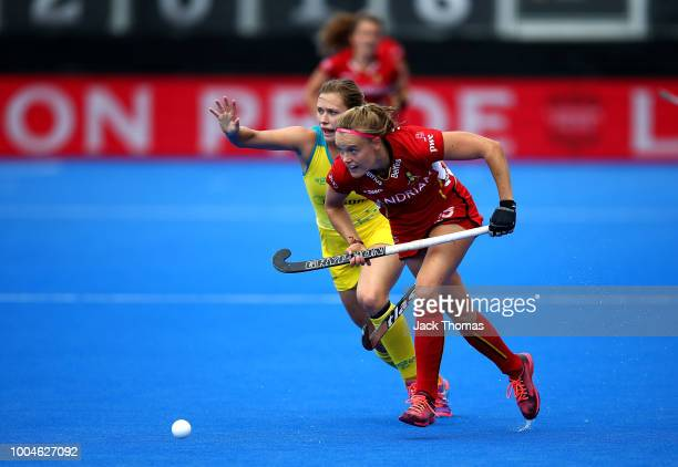 Kaitlin Nobbs of Australia and AnneSophie Weyns of Belgium in action during the Pool D game between Australia and Belgium of the FIH Womens Hockey...