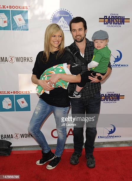 Kaitlin Olson Rob McElhenney and Leo Grey McElhnney arrive at the 3rd Annual Milk And Bookies Story Time Celebration at Skirball Cultural Center on...