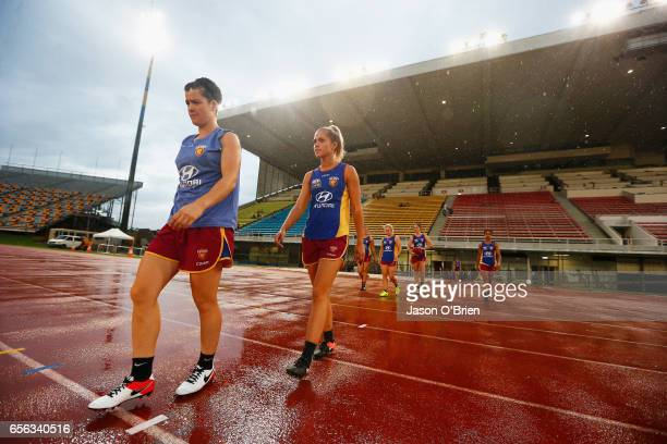 Kaitlyn Ashmore and Sam Virgo during a Brisbane Lions AFL Women's Training Session at QSAC Sports Centre on March 22 2017 in Brisbane Australia