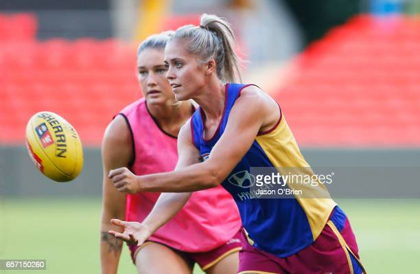 Kaitlyn Ashmore in action during the Brisbane Lions Women's AFL training session on March 24 2017 in Gold Coast Australia