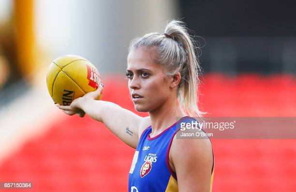 Kaitlyn Ashmore looks on during the Brisbane Lions Women's AFL training session on March 24 2017 in Gold Coast Australia