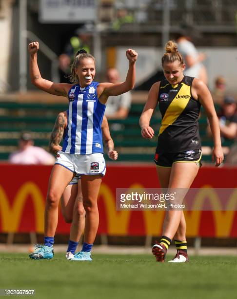 Kaitlyn Ashmore of the Kangaroos celebrates a goal during the 2020 AFLW Round 3 match between the Richmond Tigers and the North Melbourne Kangaroos...