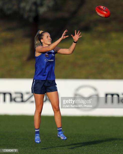 Kaitlyn Ashmore of the Kangaroos in action during the North Melbourne training session at Arden Street Oval on October 12, 2021 in Melbourne,...