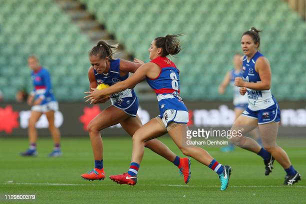 Kaitlyn Ashmore of the Kangaroos in action during the round three AFLW match between the North Melbourne Kangaroos and the Western Bulldogs at the...