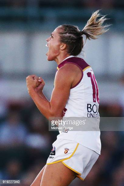 Kaitlyn Ashmore of the Lions celebrates a goal during the round three AFLW match between the Carlton Blues and the Brisbane Lions at Ikon Park on...