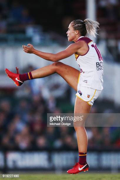 Kaitlyn Ashmore of the Lions kicks the ball for a goal during the round three AFLW match between the Carlton Blues and the Brisbane Lions at Ikon...