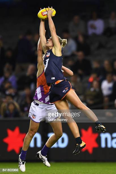 Kaitlyn Ashmore of Victoria marks during the AFL Women's State of Origin match between Victoria and the Allies at Etihad Stadium on September 2 2017...