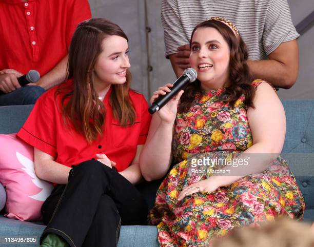 Kaitlyn Dever and Beanie Feldstein with the cast of 'Booksmart' at #TwitterHouse during SXSW on March 10 2019 in Austin Texas Photo by Robin...