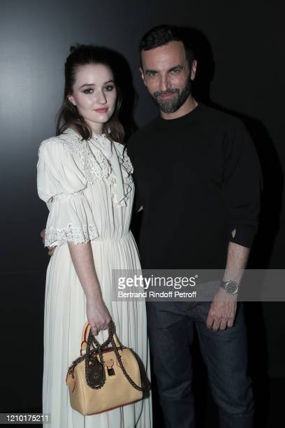 Kaitlyn Dever and Designer Nicolas Ghesquière pose after the Louis Vuitton show as part of the Paris Fashion Week Womenswear Fall/Winter 2020/2021 on...
