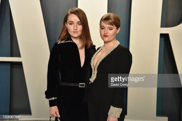 Kaitlyn Dever and Mady Dever attend the 2020 Vanity Fair Oscar Party at Wallis Annenberg Center for the Performing Arts on February 09 2020 in...