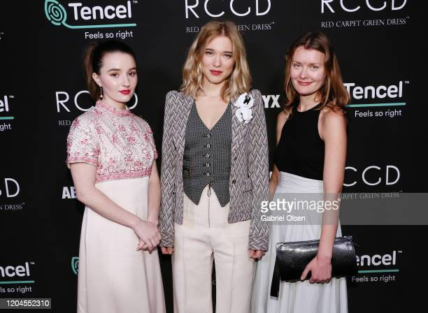 Kaitlyn Dever Léa Seydoux and Elena Andreicheva attend Red Carpet Green Dress at the Private Residence of Jonas Tahlin CEO of Absolut Elyx on...