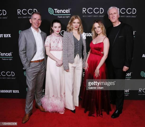 Kaitlyn Dever Lenzing Global Branding VP Harold Weghorst Léa Seydoux Elena Andreicheva and Director James Cameron attends Red Carpet Green Dress at...