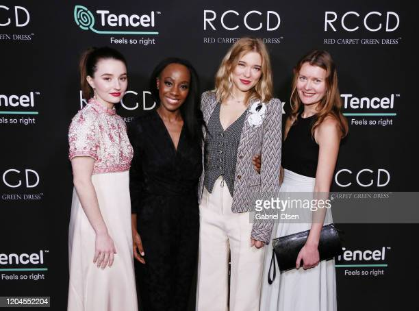 Kaitlyn Dever RCGD CEO Samata Léa Seydoux and Elena Andreicheva attends Red Carpet Green Dress at the Private Residence of Jonas Tahlin CEO of...