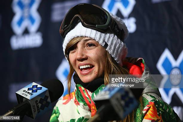Kaitlyn Farrington attends a press conference after finishing third in the women's Snowboard Superpipe at Winter X-Games 2014 Aspen at Buttermilk...