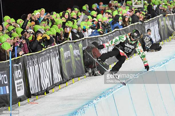 Kaitlyn Farrington competes in the Winter X-Games 2014 women's Snowboard Superpipe final at Buttermilk Mountain on January 25, 2014 in Aspen,...