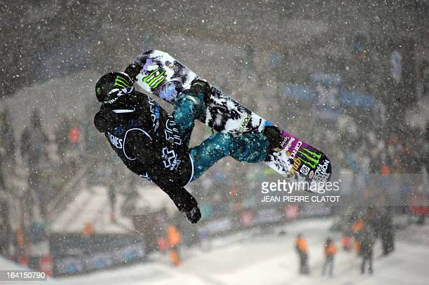 Kaitlyn Farrington competes in the women's Snowboard Superpipe final of the European Winter X-Games, on March 20, 2013 in the ski resort of Tignes,...