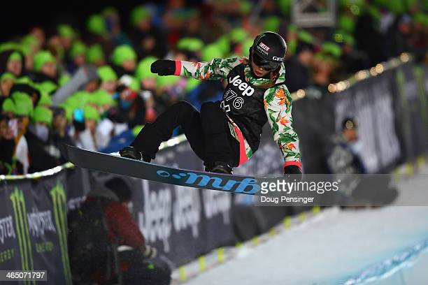 Kaitlyn Farrington flies above the pipe as she finishes third in the women's Snowboard Superpipe at Winter X-Games 2014 Aspen at Buttermilk Mountain...