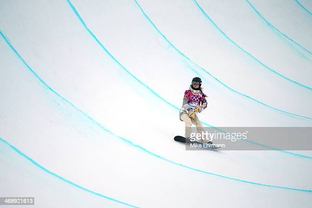 Kaitlyn Farrington of the United States competes in the Snowboard Women's Halfpipe Qualification Heats on day five of the Sochi 2014 Winter Olympics...