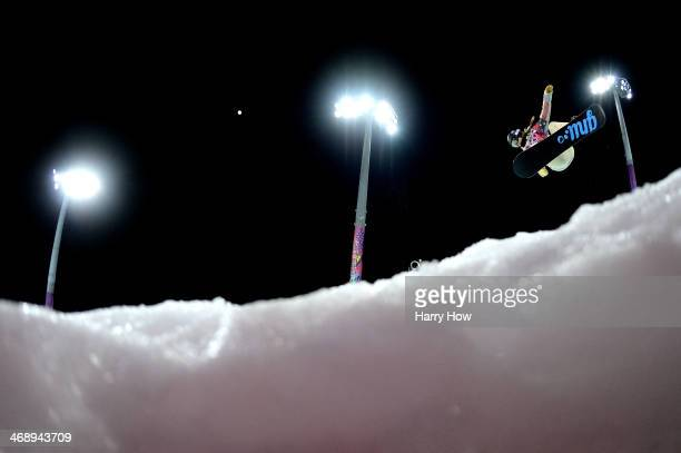 Kaitlyn Farrington of the United States competes in the Snowboard Women's Halfpipe Semifinals on day five of the Sochi 2014 Winter Olympics at Rosa...