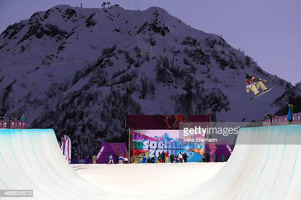 Kaitlyn Farrington of the United States practices before the Snowboard Women's Halfpipe Semifinals on day five of the Sochi 2014 Winter Olympics at...