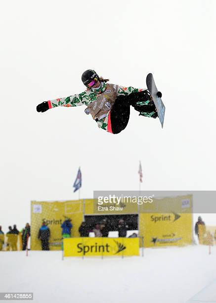 Kaitlyn Farrington takes her second run in the ladies' snowboard halfpipe qualifications for the US Snowboarding Grand Prix on January 8, 2014 in...