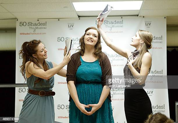 Kaitlyn Frotton Amber Petty and Chloe Williamson perform at the '50 Shades The Musical' Press Preview at The Snapple Theater Center on February 14...