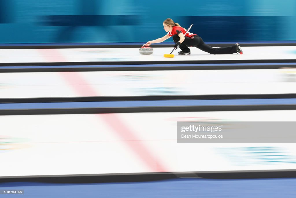 Kaitlyn Lawes and John Morris (not in frame) of Canada compete during the Curling Mixed Doubles on day two of the PyeongChang 2018 Winter Olympic Games at Gangneung Curling Centre on February 11, 2018 in Gangneung, South Korea.