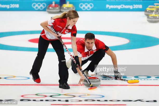 Kaitlyn Lawes and John Morris of Canada compete during the Curling Mixed Doubles on day two of the PyeongChang 2018 Winter Olympic Games at Gangneung...
