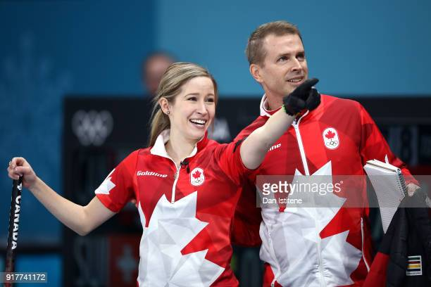 Kaitlyn Lawes of Canada celebrates defeating Switzerland to win the gold medal with coach Jeff Stoughton during the Curling Mixed Doubles Gold Medal...