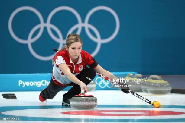 Kaitlyn Lawes of Canada delivers a stone against Switzerland during the Curling Mixed Doubles Gold Medal Game on day four of the PyeongChang 2018...