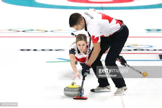 Kaitlyn Lawes of Canada delivers a stone against the United States of America in the Curling Mixed Doubles Round Robin Session 2 during the...