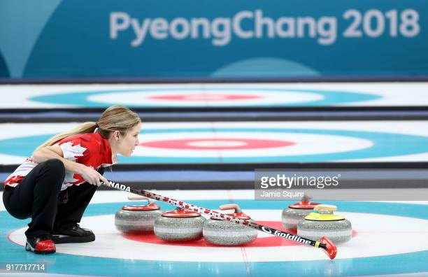 Kaitlyn Lawes of Canada looks on against Switzerland during the Curling Mixed Doubles **** Medal Game on day four of the PyeongChang 2018 Winter...