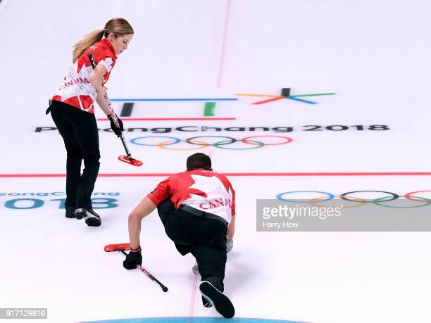 Kaitlyn Lawes of Canada prepares to sweep the throw of John Morris enroute to an 84 win over Norway to advance to the gold medal game during the...