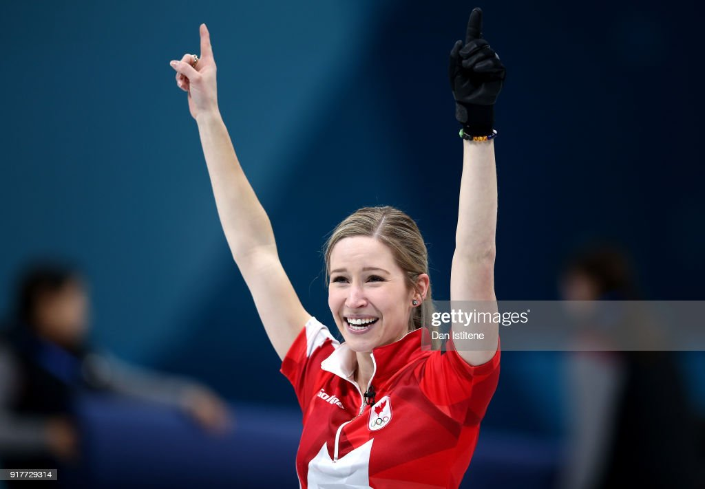 Kaitlyn Lawes of Canada reacts after defeating Switzerland to win the gold medal during the Curling Mixed Doubles Gold Medal Game on day four of the PyeongChang 2018 Winter Olympic Games at Gangneung Curling Centre on February 13, 2018 in Gangneung, South Korea.