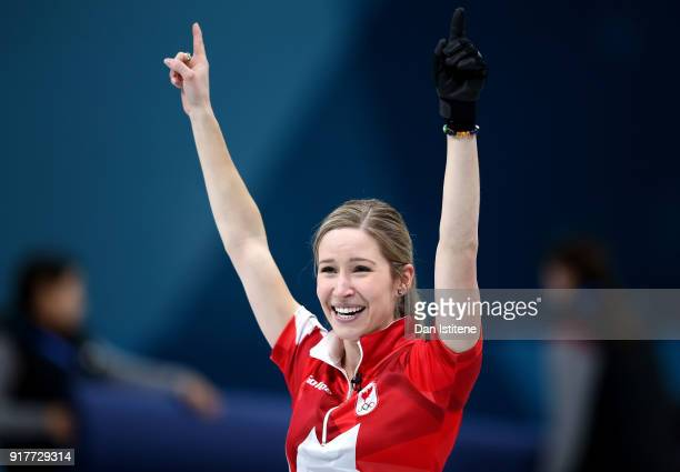 Kaitlyn Lawes of Canada reacts after defeating Switzerland to win the gold medal during the Curling Mixed Doubles Gold Medal Game on day four of the...