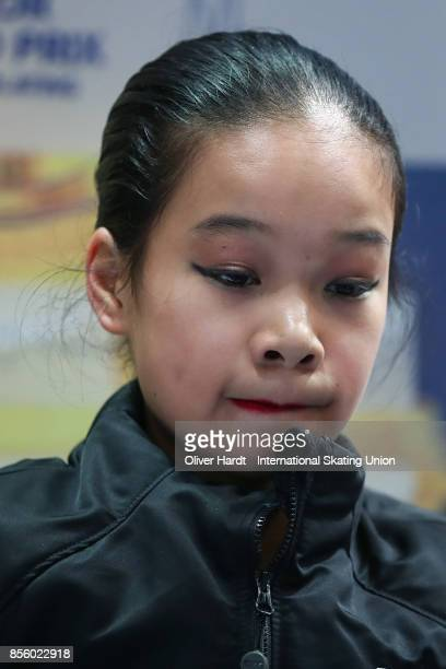 Kaitlyn Nguyen of United States look on at the kiss and cry in the Junior Ladies Free Skating Program during day four of the ISU Junior Grand Prix of...