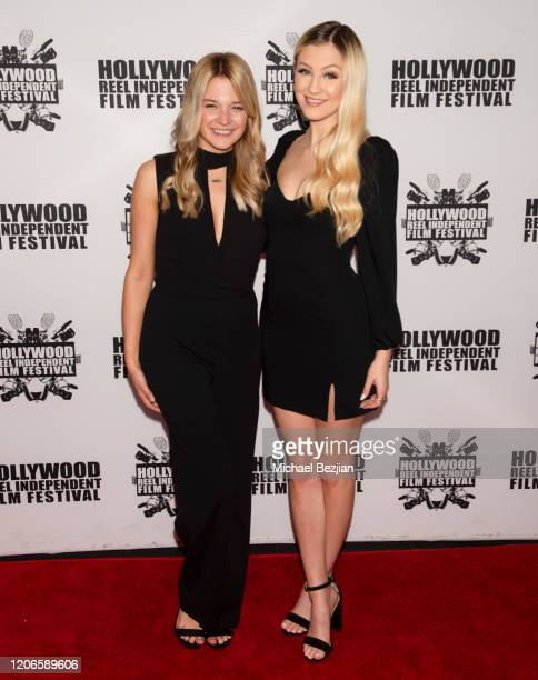 Kaitlyn Squires and Ava Locklear arrive at A Dark Foe Film Premiere on February 15 2020 in Los Angeles California
