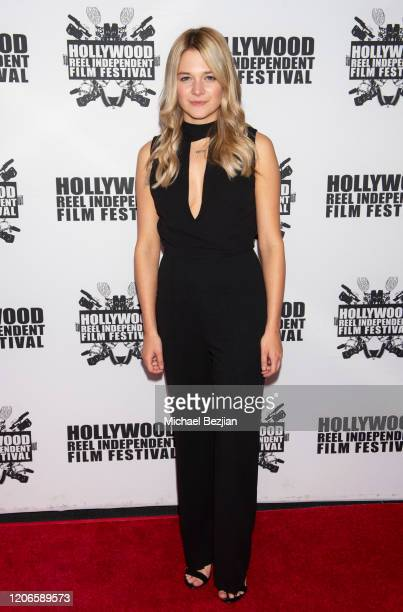 Kaitlyn Squires arrives at A Dark Foe Film Premiere on February 15 2020 in Los Angeles California