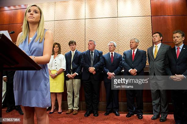 Kaitlyn Strada who lost her father Tom Strada in the World Trade Center on 9/11, conducts a news conference in the Capitol Visitor Center on...
