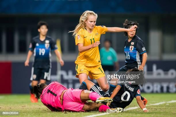 "Kaitlyn Torpey of Australia in action against Hinata Miyazawa of Japan during their AFC U-19 Women""u2019s Championship 2017 Group Stage B match..."